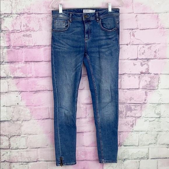 Zara denim skinny ankle zip mid rise jeans 6